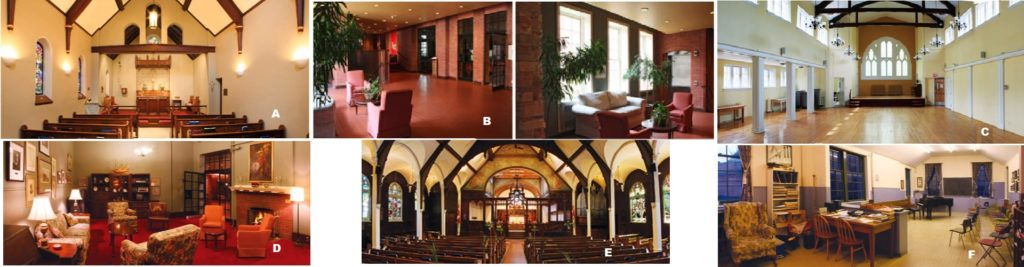 Thumbnails of rooms at the church