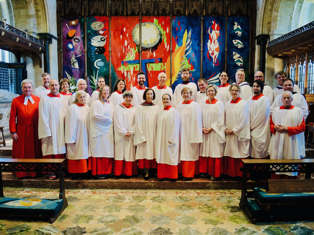 Chichester Cathedral, the choir assembled in front of the high altar