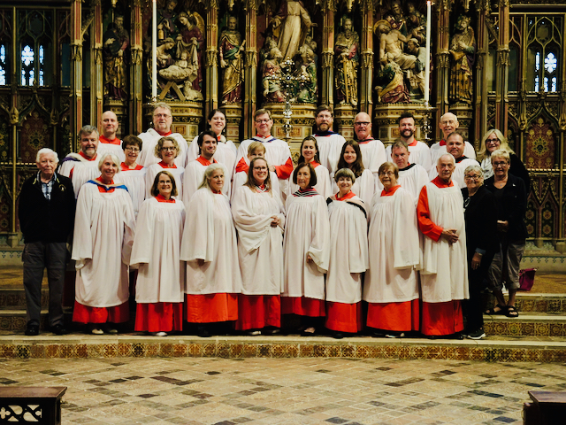 Gloucester Cathedral, the choir assembled in front of the high altar